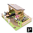 Budkins Yellow Barn with cows - Wooden Toy