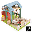 Budkins Blue Barn with Sheep - Wooden Toy
