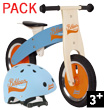 Pack Bikloon Draisienne + Casque bleu/orange