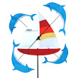 Decorative WhirliGig Spinner Sailboat & Dolphins 33cm