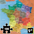 Map of France Departments - 100 piece wooden Puzzle Puzzle Michèle Wilson