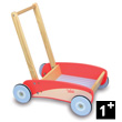 Red push along trolley - Wooden Toy