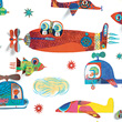 Removable 3D wall stickers Flying vehicules Little Big Room by Djeco