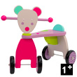 Mouse Push Along Stroller - Wooden Toy - Les Jolis pas Beaux Moulin Roty