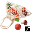 Shopping net with 9 wooden vegetables