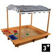 Outdoor Wooden Sandbox with Canopy