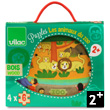 Zoo Animals - 4 wooden puzzles in a wooden box Vilac
