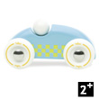 Wooden Mini Rallye Car - Light blue yellow squares