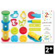 Modeling Dough - 4 tubs and 21 tools Djeco
