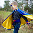 Reversible Super Hero Set blue/yellow - Kid Costume ages 5-6