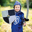 Sir Gallahad Hooded Shirt, Silver/Blue - Boy Cost Great Pretenders