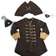 Captain Hook Set, Brown - Costume for Boy Great Pretenders