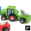 Tractor with trailer - GREEN - Wooden Toy Car
