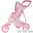 White and Pink Buggy for dolls up to 50cm Götz Dolls