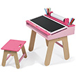 Desk and Stool - Pink - Kids' furniture Janod