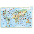 Puzzle 100 pieces World's animals + booklet Djeco